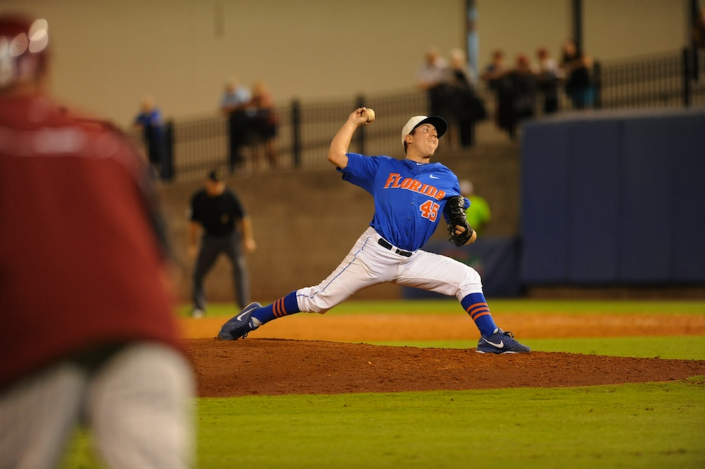 Florida pitcher Johnny Magliozzi (45). Florida defeated South Carolina 4-3 Friday night.