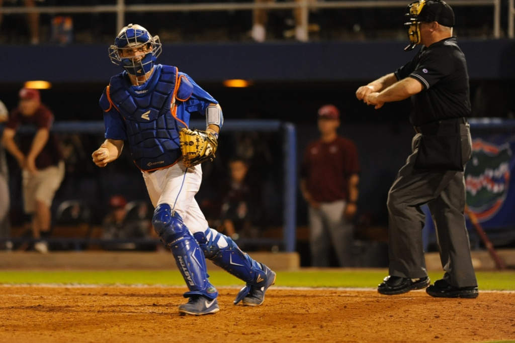 Florida catcher Taylor Gushue (17). Florida defeated South Carolina 4-3 Friday night.