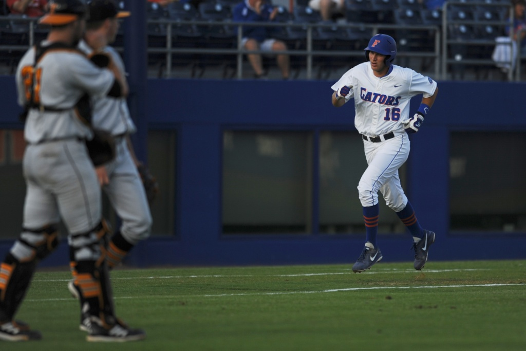 Florida's Justin Shafer (16) got a home run for the Gators Friday night. The Gators defeated the Vols 7-2 Friday night.