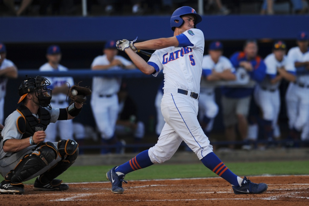 Zack Powers (5) up to bat for the Gators. The Gators defeated the Vols 7-2 Friday night.