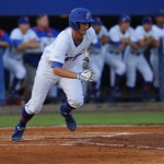 Zack Powers (5) gets on first base for the Gators Friday night. The Gators defeated the Vols 7-2 Friday night.