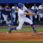 Harrison Bader (8) up to bat for the Gators. The Gators defeated the Vols 7-2 Friday night.