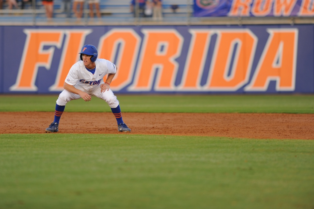 Harrison Bader (8) leads off second base in Friday's game against the Tennessee Vols. The Gators defeated the Vols 7-2 Friday night.