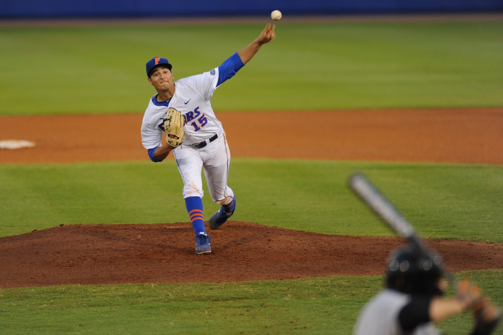 Florida pitcher Danny Young (15). The Gators defeated the Vols 7-2 Friday night.