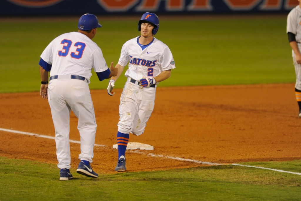 Casey Turgeon (2) gets a home run for the Gators Friday. The Gators defeated the Vols 7-2 Friday night.