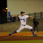 Pitcher Aaron Rhodes (27). The Gators defeated the Vols 7-2 Friday night.