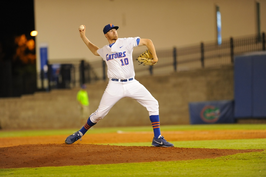 Tucker Simpson (10) is the final pitcher for the Gators Friday night. The Gators defeated the Vols 7-2 Friday night.