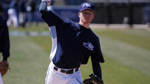 Former Florida Gator pitcher Hudson Randall pitching here for the West Michigan White Caps, an affiliate of the Detroit Tigers. 