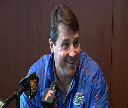 Will Muschamp addressing the media