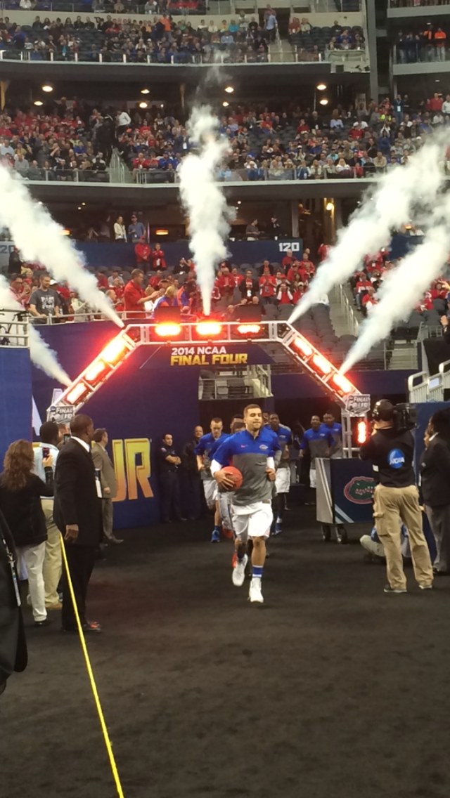 Gators come out of the tunnel as they face the UConn Huskies.