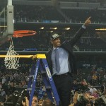 UConn head coach Kevin Ollie after cutting down the net.