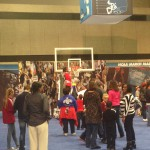 """Fans got to pose as they """"cut down"""" the net."""