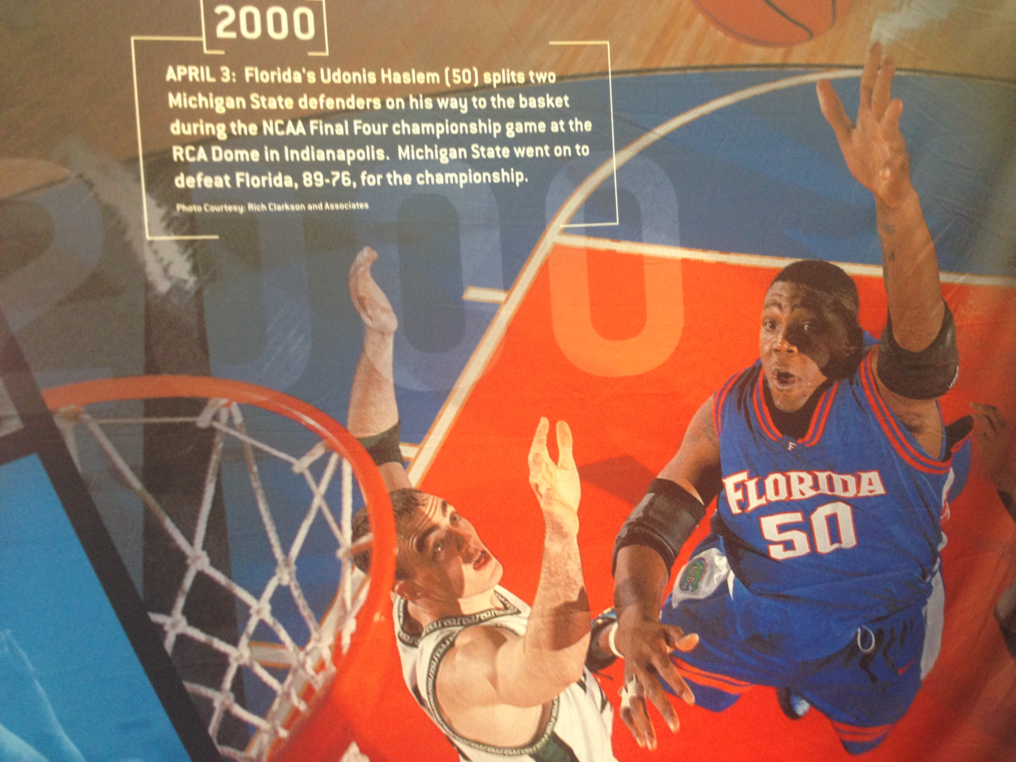 Udonis Haslem in the history across the walls at Bracket Town