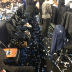 Confetti filled press row after the UConn win