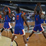 Gators warming up for open practice.