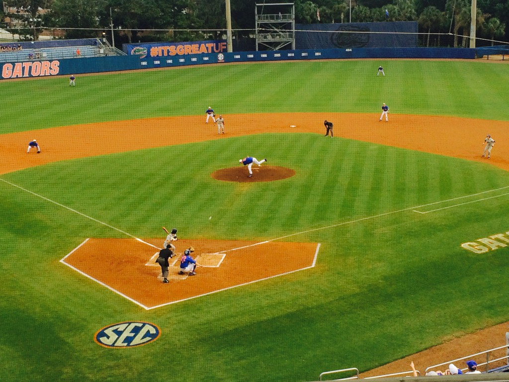 Florida starting pitcher A.J. Puk delivers a pitch in the first inning of Friday's game. The Gators defeated Auburn 4-3.