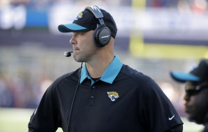 Jacksonville Jaguars head coach Gus Bradley watches from the sideline in the second half of an NFL football game against the New England Patriots, Sunday, Sept. 27, 2015, in Foxborough, Mass. (AP Photo/Steven Senne)