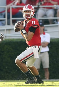 Georgia quarterback Greyson Lambert drops back to pass during the first half of an NCAA college football game against South Carolina Saturday, Sept. 19, 2015, in Athens, Ga. Georgia won 52-20. (AP Photo/John Bazemore)