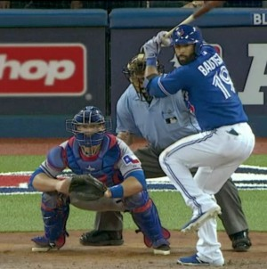 Toronto's José Bautista gears up for a pitch against the Texas Rangers.