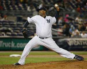 New York Yankees starting pitcher CC Sabathia delivers in a baseball game against the Boston Red Sox in New York, Thursday, Oct. 1, 2015. (AP Photo/Kathy Willens)