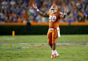 Florida defensive lineman Jonathan Bullard raise his arms to get some crowd noise from fans during the first half of an NCAA college football game against East Carolina, Saturday, Sept. 12, 2015, in Gainesville, Fla. (AP Photo/John Raoux)