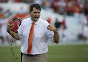 Miami head coach Al Golden gestures during the first half of an NCAA college football game against Nebraska, Saturday, Sept. 19, 2015 in Miami Gardens, Fla. (AP Photo/Wilfredo Lee)