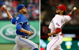 FILE - At left, in an Aug. 26, 2015, file photo, Toronto Blue Jays starting pitcher David Price works against the Texas Rangers in the first inning of a baseball game in Arlington, Texas. At right, a July 30, 2015, file photo, Texas Rangers' Yovani Gallardo works against the New York Yankees in a baseball game in Arlington, Texas. Price and Gallardo are scheduled to be the starting pitchers in Game 1 of their American League Division Series on Thursday, Oct. 8 in Toronto. (AP Photo/Tony Gutierrez, File)