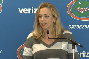 Amanda Butler addresses the media on Monday