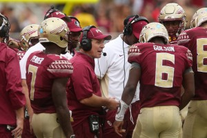 Florida State's head coach Jimbo Fisher, center, talks with his players during a time out during an NCAA college football game with South Florida, Saturday, Sept. 12, 2015 in Tallahassee, Fla. Florida State won the game 34-14. (AP Photo/Steve Cannon)