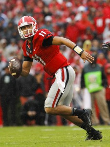 Georgia quarterback Greyson Lambert (11) scrambles against Alabama in an NCAA college football game Saturday, Oct. 3, 2015, in Athens, Ga. (AP Photo/Brett Davis)