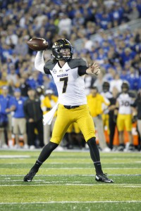 Missouri quarterback Maty Mauk looks for a receiver during the second half of an NCAA college football game against Kentucky, Saturday, Sept. 26, 2015, in Lexington, Ky. Kentucky won the game 21-13. (AP Photo/David Stephenson)