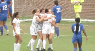 Gator soccer celebrates their first and only goal to Duke last Sunday