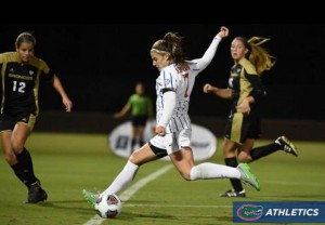 Jordan takes a shot against William & Mary. Her goal led the Gators past the Tribe with a 1-0 victory.