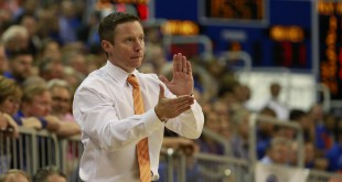 Nov 16, 2015; Gainesville, FL, USA; Florida Gators head coach Mike White claps during the second half against the North Carolina A&T Aggies at Stephen C. O'Connell Center. Florida Gators defeated the North Carolina A&T Aggies 104-54. Mandatory Credit: Kim Klement-USA TODAY Sports