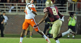 Sep 20, 2014; Tallahassee, FL, USA; Florida State Seminoles defensive back Jalen Ramsey (8) pressures Clemson Tigers quarterback Deshaun Watson (4) at Doak Campbell Stadium. Mandatory Credit: Melina Vastola-USA TODAY Sports