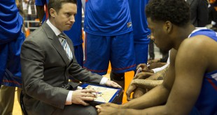 Jan 8, 2015; El Paso, TX, USA; Louisiana Tech Bulldogs head coach Michael White speaks to his team before facing the UTEP Miners at Don Haskins Center. Mandatory Credit: Ivan Pierre Aguirre-USA TODAY Sports