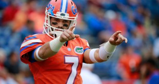 Oct 3, 2015; Gainesville, FL, USA; Florida Gators quarterback Will Grier (7) points while he works out prior to the game at Ben Hill Griffin Stadium. Mandatory Credit: Kim Klement-USA TODAY Sports