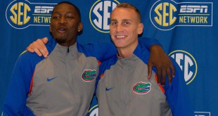 Oct 21, 2015; Charlotte, NC, USA; Florida Gators players Dorian Finney-Smith and Alex Murphy pose for a picture during SEC Tipoff held at Ballantyne Hotel. Mandatory Credit: Jeremy Brevard-USA TODAY Sports