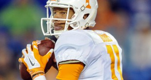 Oct 31, 2015; Lexington, KY, USA; Tennessee Volunteers quarterback Joshua Dobbs (11) during a game against the Kentucky Wildcats at Commonwealth Stadium. Mandatory Credit: Bryan Lynn-USA TODAY Sports