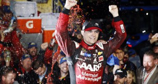 Nov 1, 2015; Martinsville, VA, USA; Sprint Cup Series driver Jeff Gordon (24) celebrates winning the Goody's Headache Relief Shot 500 at Martinsville Speedway. Mandatory Credit: Peter Casey-USA TODAY Sports