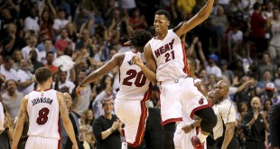 Nov 1, 2015; Miami, FL, USA; Miami Heat center Hassan Whiteside (right) celebrates with Miami Heat forward Justise Winslow (left) after Winslow made a three point basket during the second half at American Airlines Arena. The Heat won 109-89. Mandatory Credit: Steve Mitchell-USA TODAY Sports