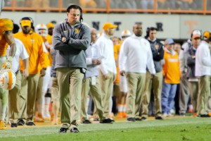 Nov 7, 2015; Knoxville, TN, USA; Tennessee Volunteers head coach Butch Jones during the game against the South Carolina Gamecocks at Neyland Stadium. Mandatory Credit: Randy Sartin-USA TODAY Sports. Tennessee won 27 to 24.