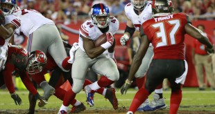 Nov 8, 2015; Tampa, FL, USA; New York Giants running back Andre Williams (44) runs with the ball against the Tampa Bay Buccaneers during the second half at Raymond James Stadium. New York Giants defeated the Tampa Bay Buccaneers 32-18. Mandatory Credit: Kim Klement-USA TODAY Sports