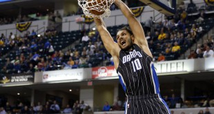 Nov 9, 2015; Indianapolis, IN, USA; Orlando Magic guard Evan Fournier (10) dunks against  the Indiana Pacers at Bankers Life Fieldhouse. Mandatory Credit: Brian Spurlock-USA TODAY Sports