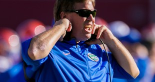 Nov 14, 2015; Columbia, SC, USA; Florida Gators head coach Jim McElwain directs his team against the South Carolina Gamecocks in the second half at Williams-Brice Stadium. Mandatory Credit: Jeff Blake-USA TODAY Sports