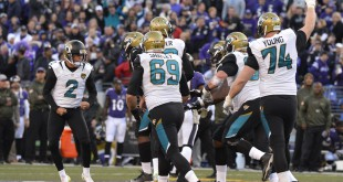 Nov 15, 2015; Baltimore, MD, USA; Jacksonville Jaguars celebrates after kicker Jason Myers (2) made the game winning field goal against the Baltimore Ravens at M&T Bank Stadium. Jacksonville Jaguars defeated Baltimore Ravens 22-20. Mandatory Credit: Tommy Gilligan-USA TODAY Sports