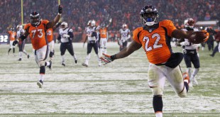 Nov 29, 2015; Denver, CO, USA; Denver Broncos running back C.J. Anderson (22) runs for the game winning touchdown during the overtime period against the New England Patriots at Sports Authority Field at Mile High. The Broncos won 30-24. Mandatory Credit: Chris Humphreys-USA TODAY Sports