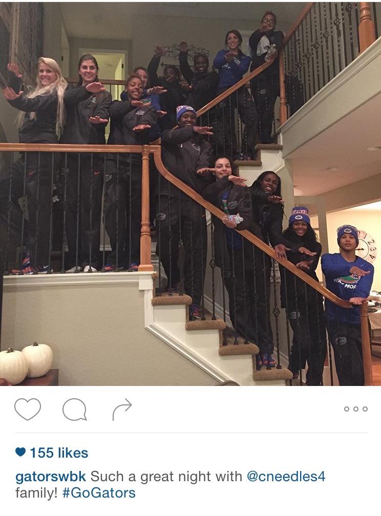 UF Women's Hoops in the Needles' Home. Courtesy of @gatorswbk via Instagram