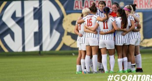 The Gator soccer team huddle during the SEC tournament. Photo credit to Gatorzone.com.