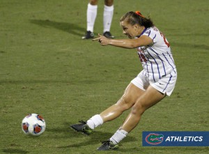 Meggie Doughtery Howard rips one of her five shots on the night. Her goal led the Gators past the Tribe 5-2. Photo courtesy of GatorVision.
